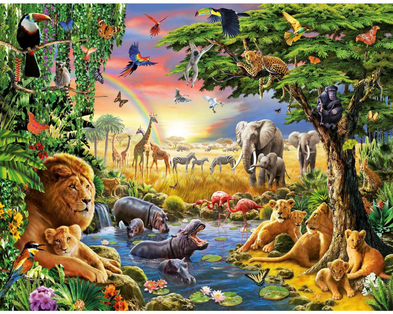 1280x1024 jungle animals four desktop pc and mac wallpaper for Home wallpaper jungle