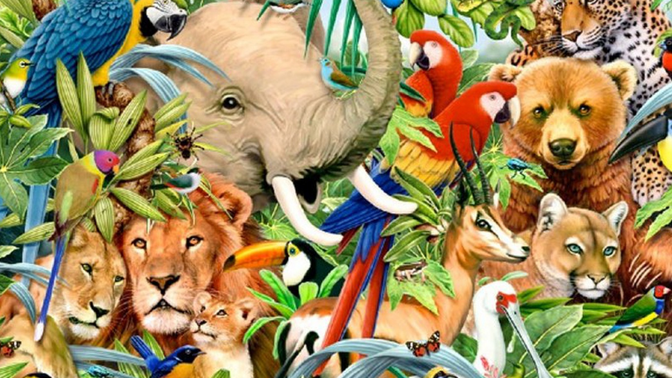 1366x768 jungle animals one desktop pc and mac wallpaper for Classic jungle house for small animals