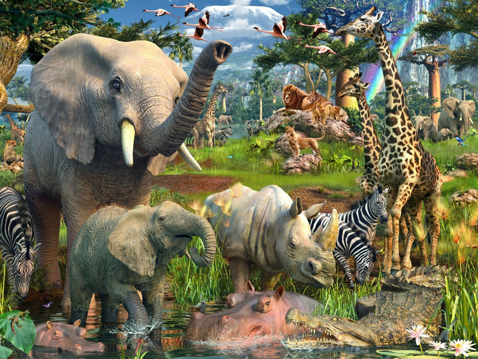 Jungle animals twenty two wallpapers jungle animals for Classic jungle house for small animals