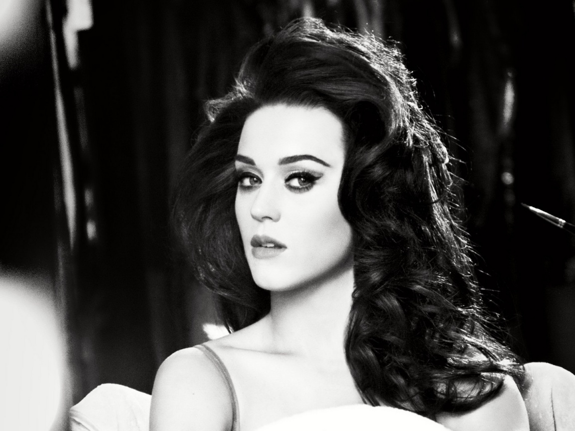 1152x864 Katy Perry Black and White Close-up desktop PC and Mac ...