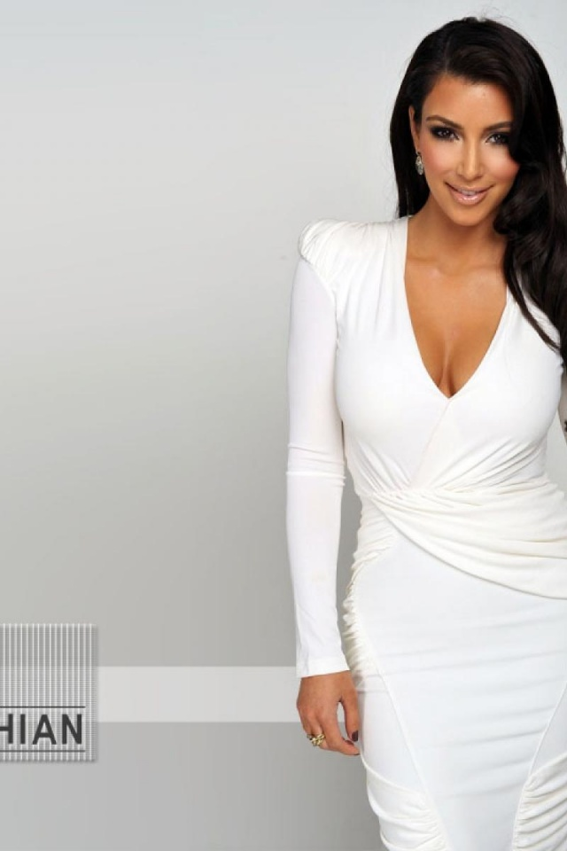 640x960 kim kardashian white dress iphone 4 wallpaper