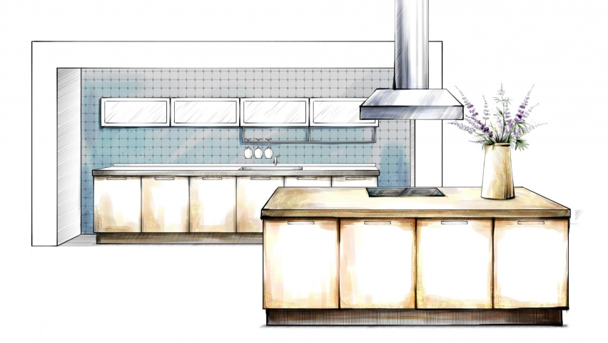 646x220 Kitchen Interior Design Drawing Linkedin Banner Image