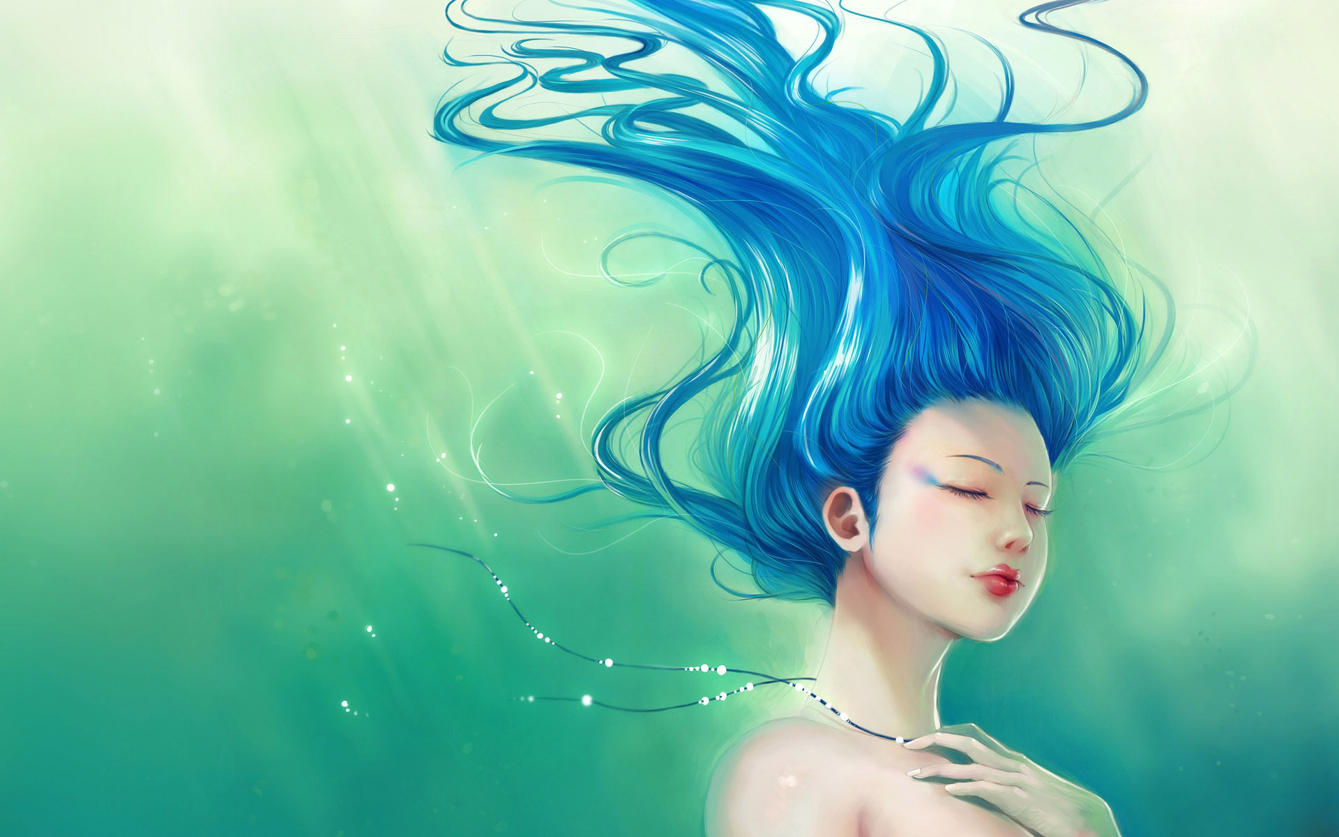 Image Lady With Blue Hair Wallpapers And Stock Photos
