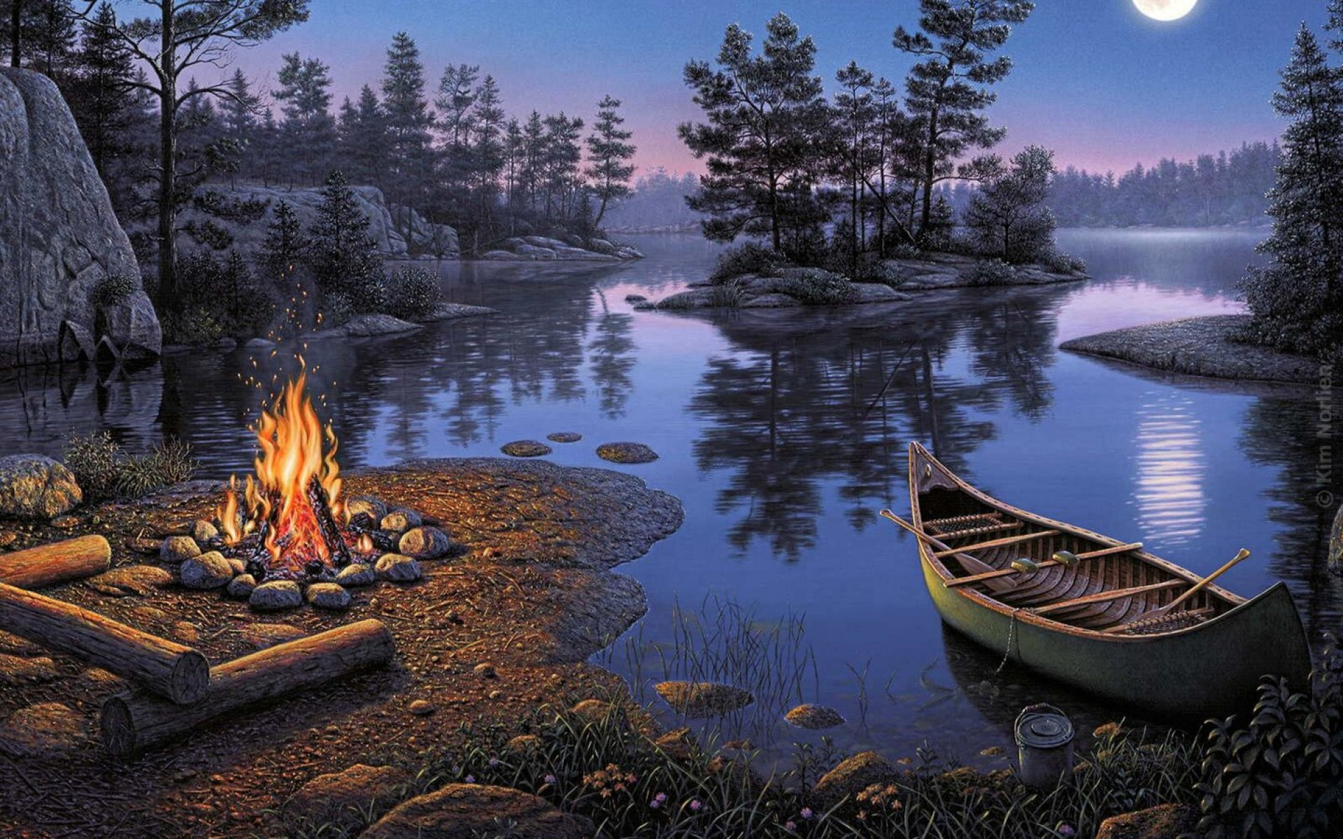 Lake Boat Trees Camp Fire Dark Wallpapers Lake Boat