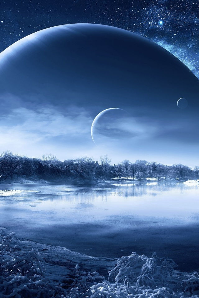 640x960 lake stars planets scenic snow iphone 4 wallpaper. Black Bedroom Furniture Sets. Home Design Ideas