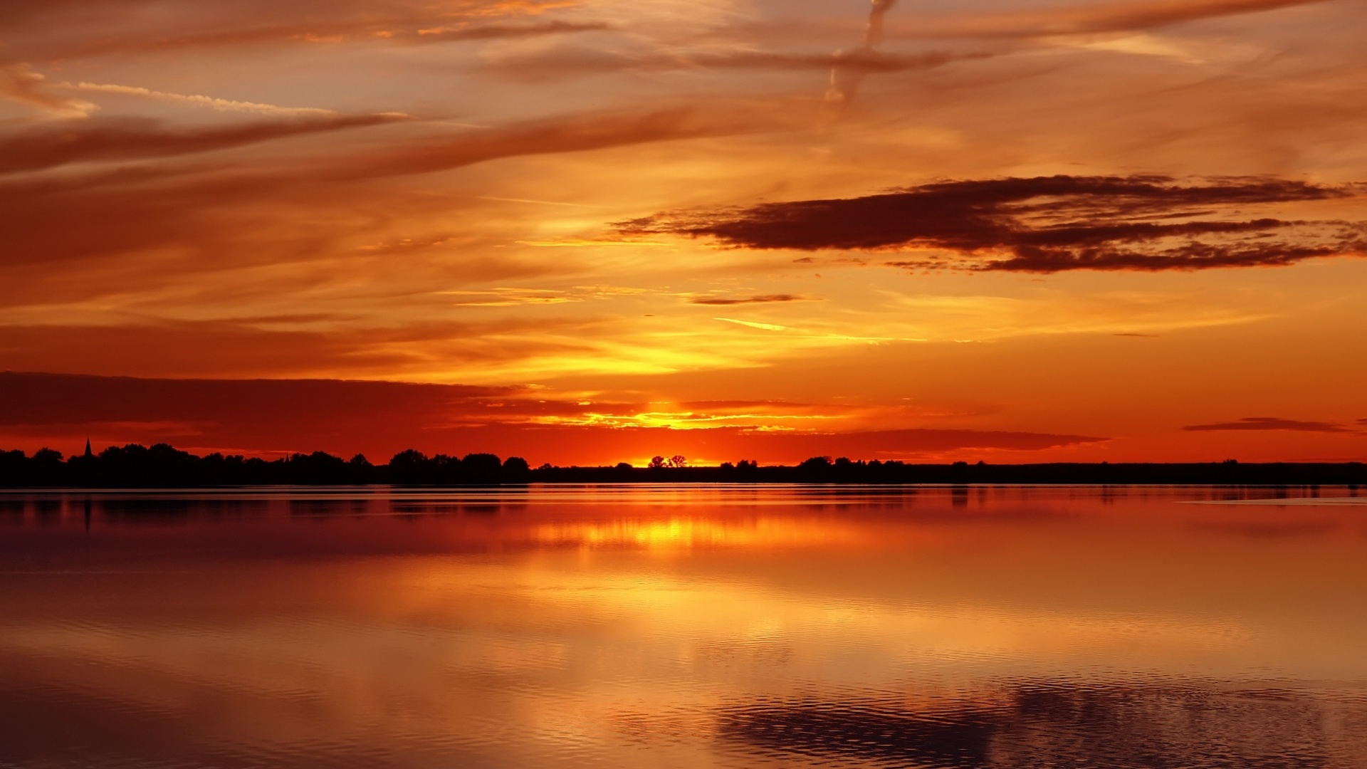 1920x1080 Lake Trees Fire Red Sunset Desktop Pc And Mac Wallpaper