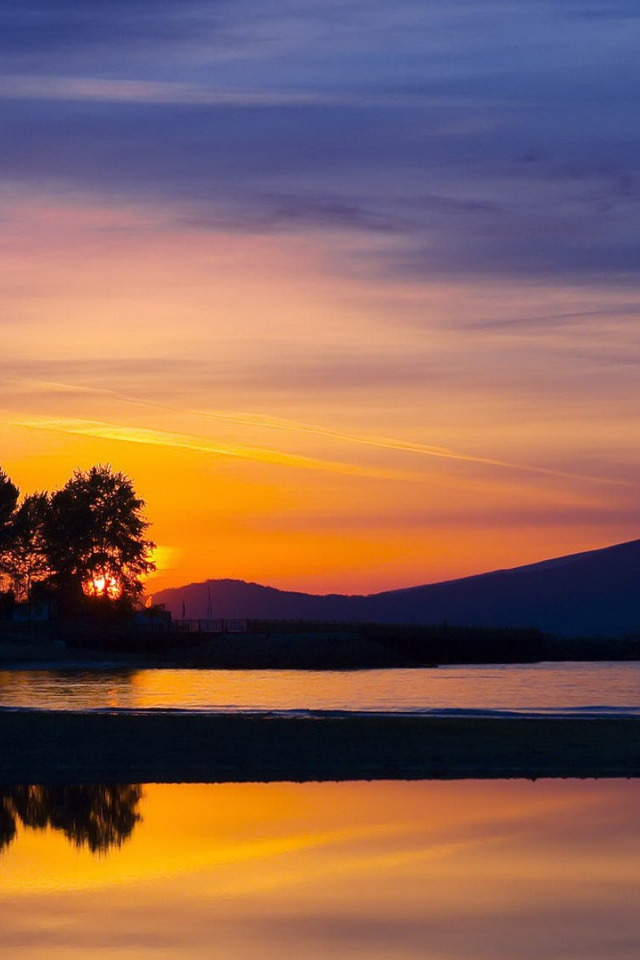 640x960 lake trees sunset vancouver desktop pc and mac for Home wallpaper vancouver