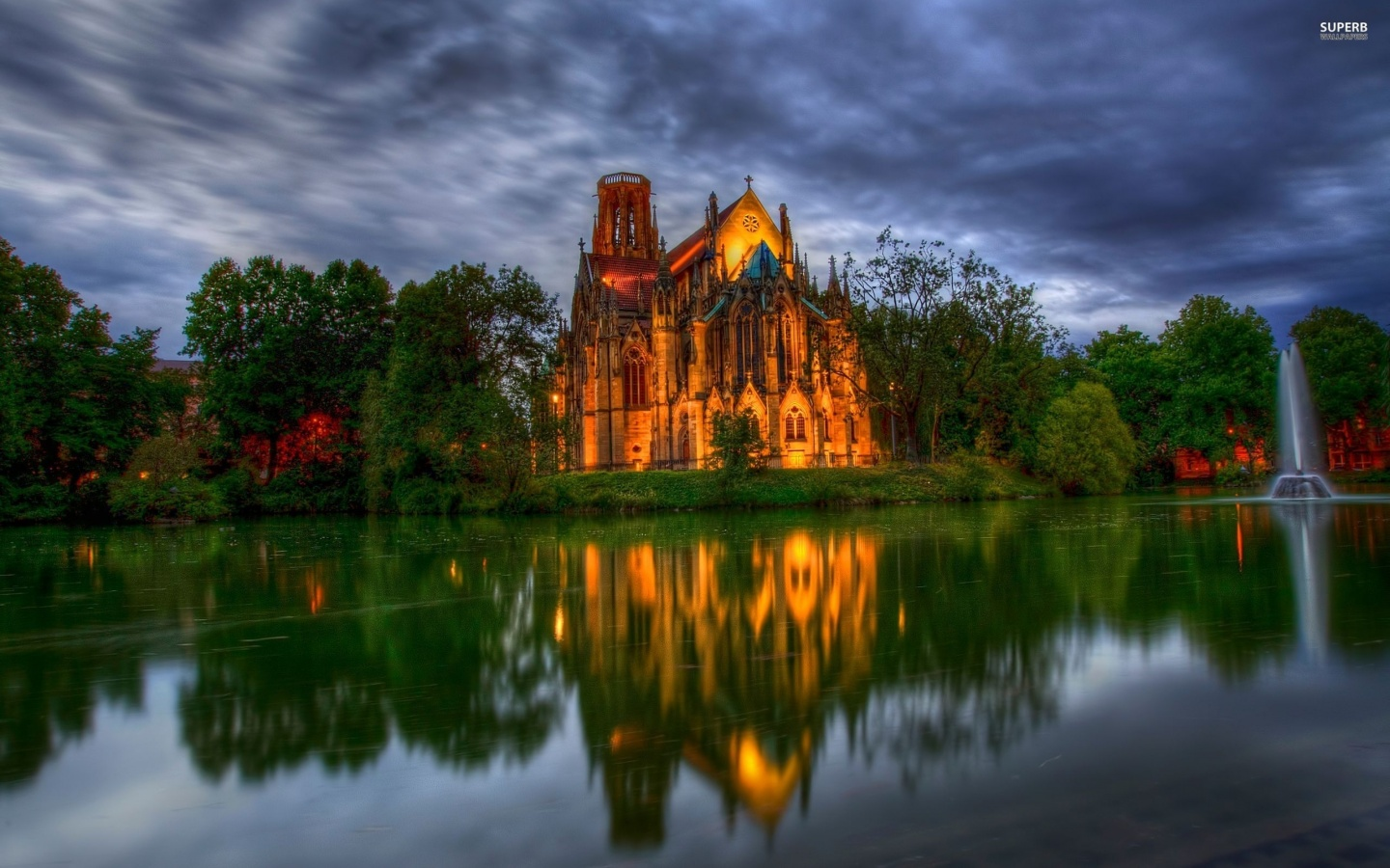 1440x900 Lakeside cathedral, church, world