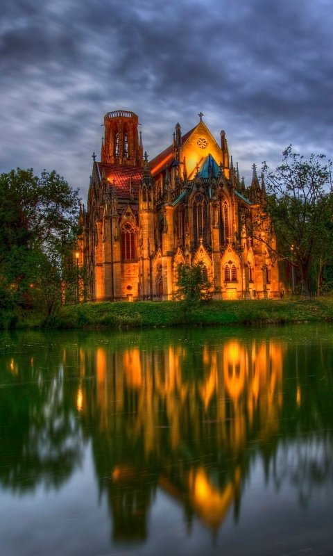 480x800 Lakeside cathedral, church, world