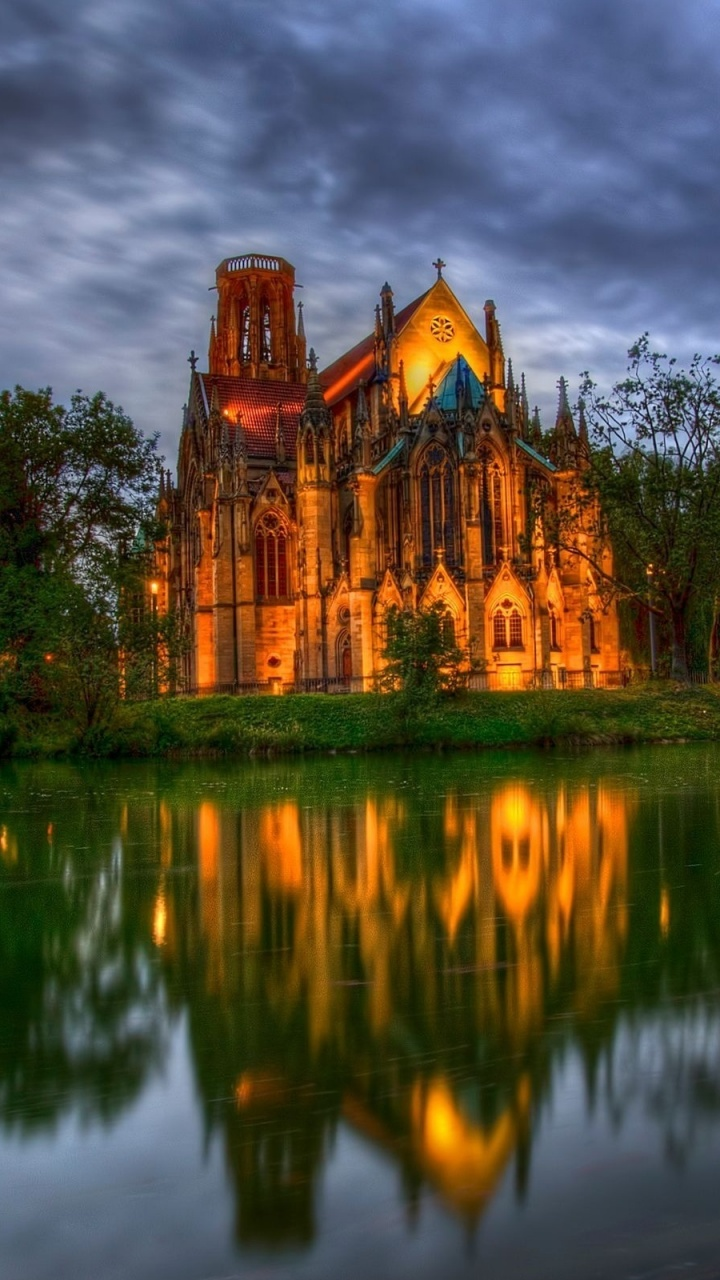 720x1280 Lakeside cathedral, church, world