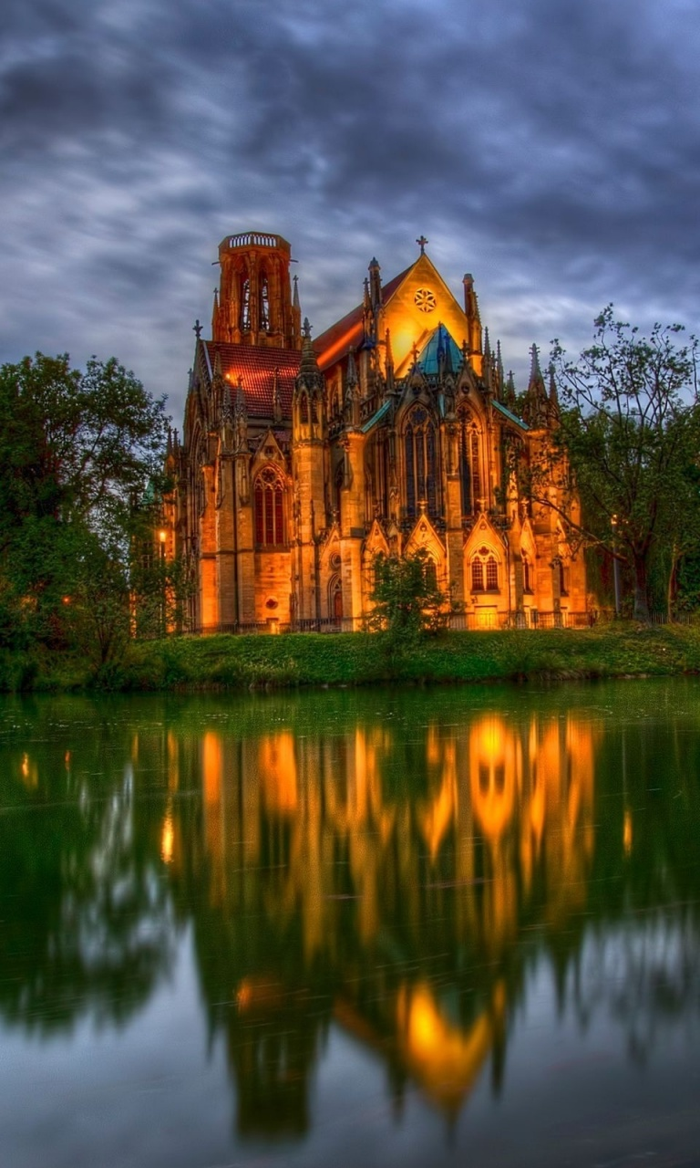 768x1280 Lakeside cathedral, church, world