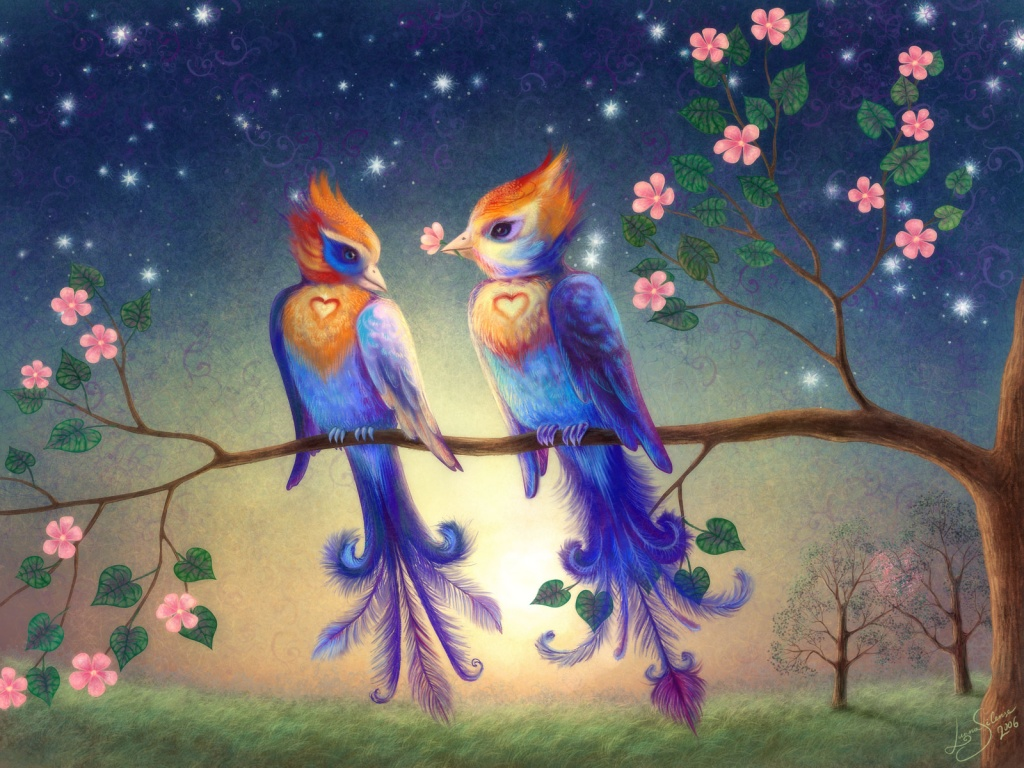 1024x768 Liolio Birds In Love Desktop PC And Mac Wallpaper