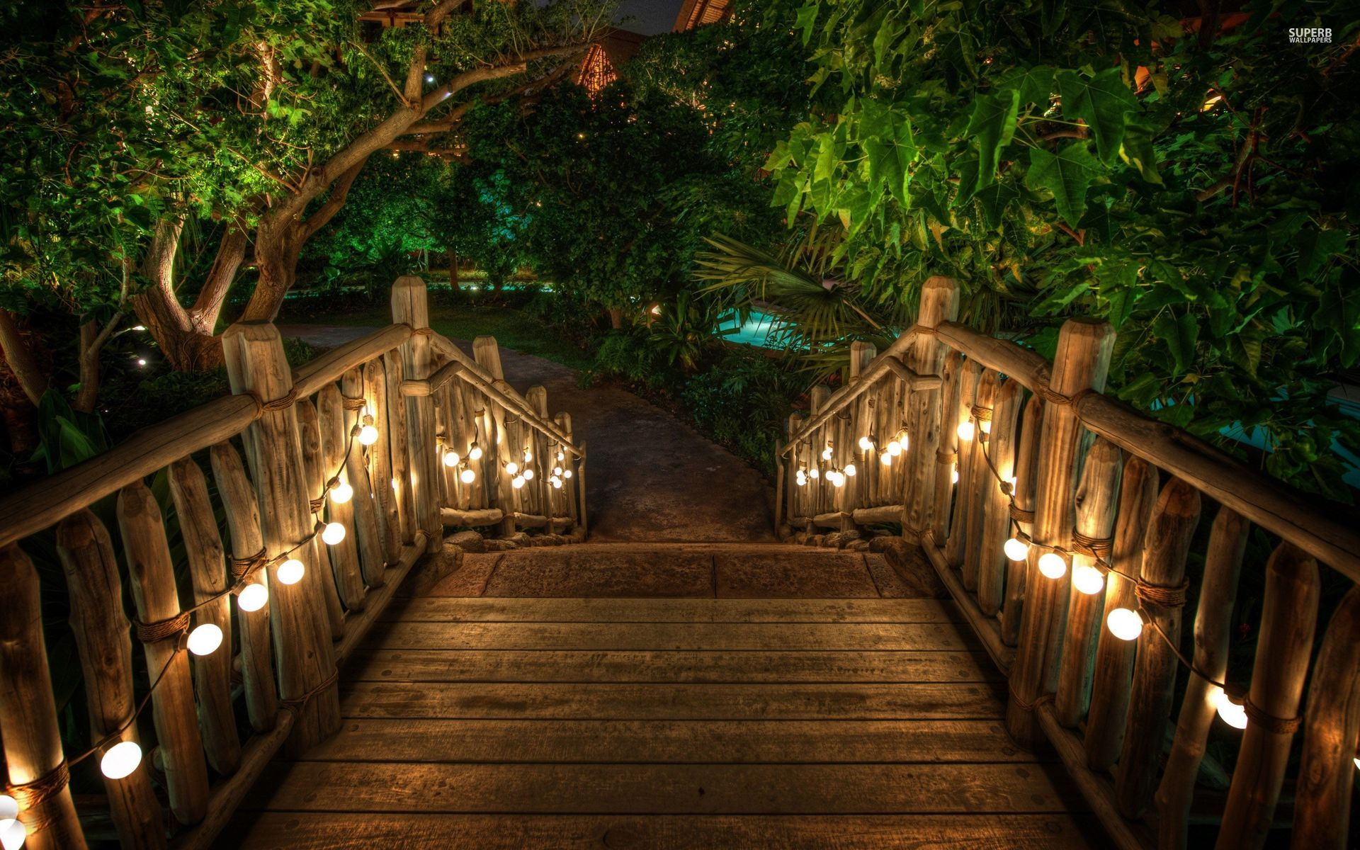 Lit Stairs Tropical Resort Wallpapers Lit Stairs