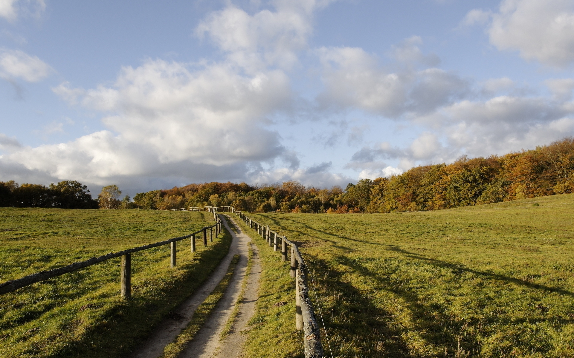 Lovely Path Fence Trees Fields Wallpapers Lovely Path