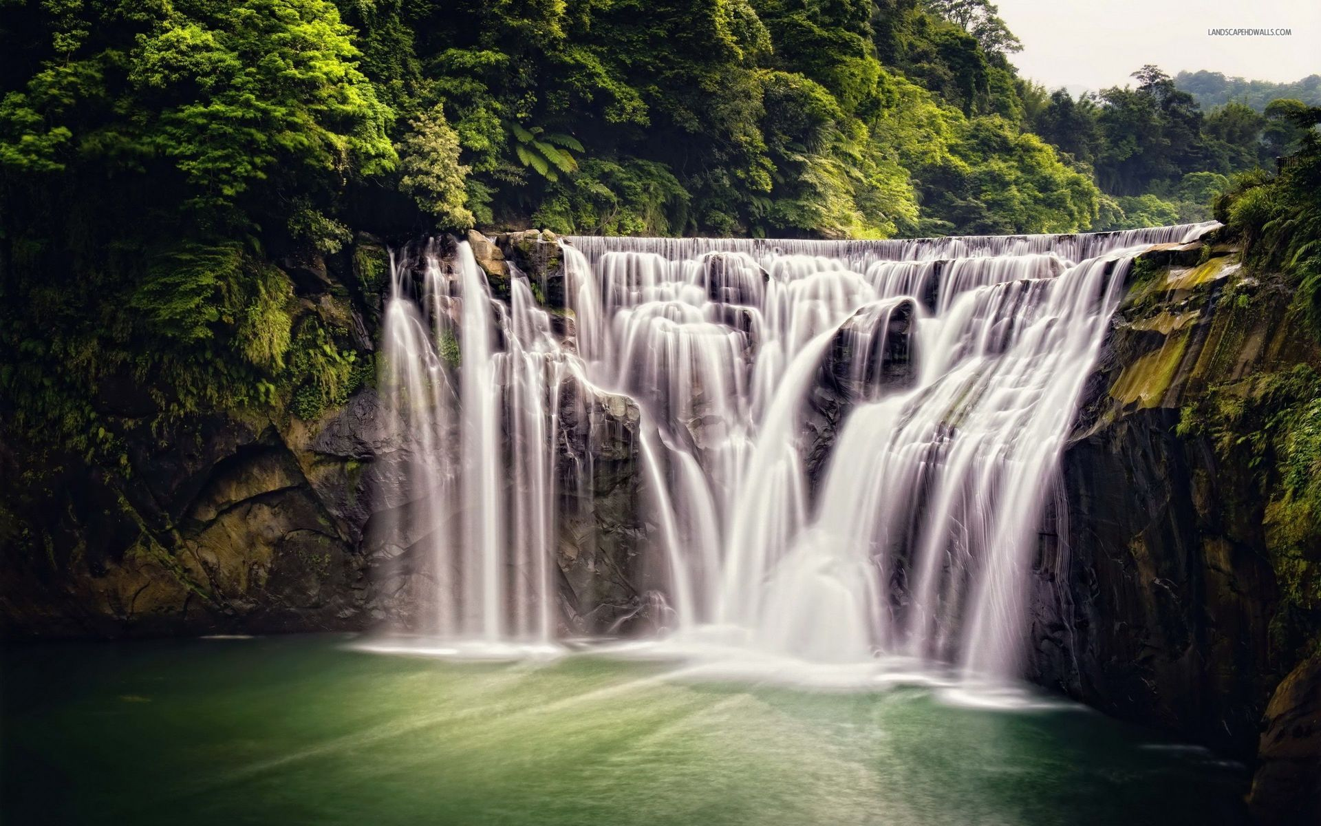 Lovely Waterfalls & Nice Trees Wallpapers
