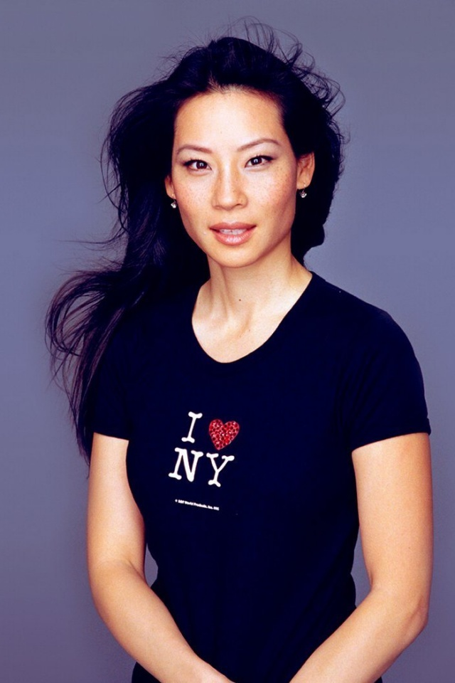 640x960 Lucy Liu Black I Love NY Shirt Iphone 4 wallpaper