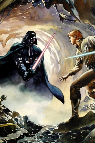 320x480 Luke Skywalker vs Darth Vader Iphone 3g wallpaper