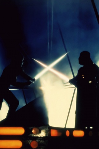 320x480 Luke Skywalker Vs Darth Vader Iphone Wallpaper