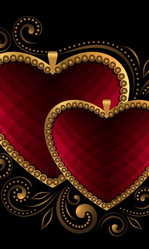 480x800 Luxury Hearts Red