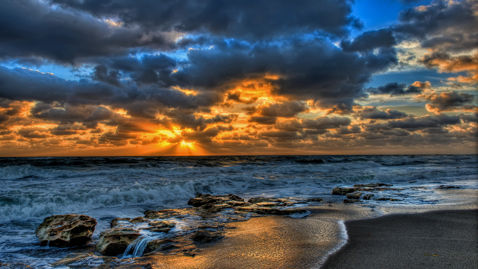 1920x1080 magnificent sunset ocean rocks desktop pc and mac wallpaper