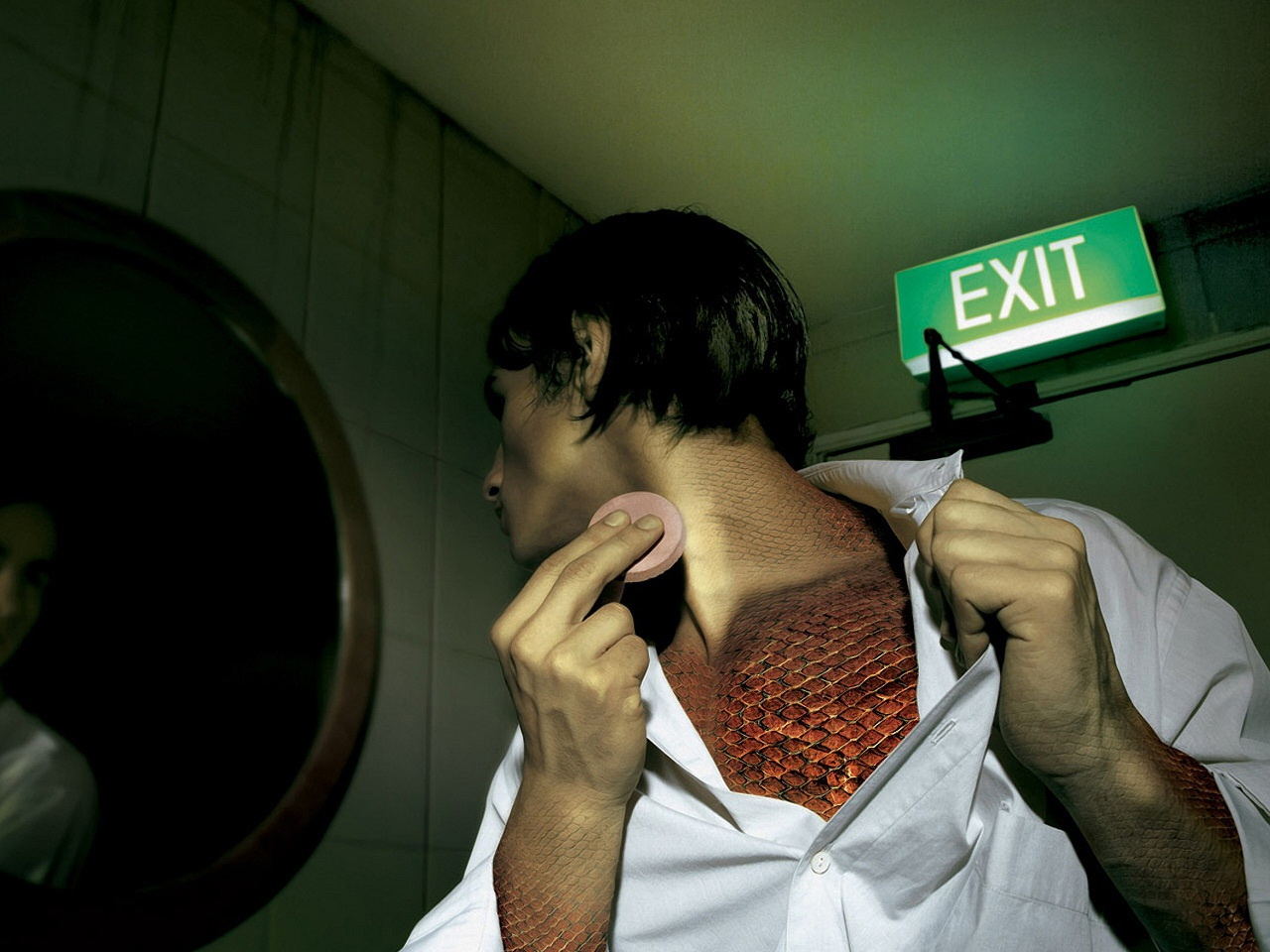 1280x960 Man and exit sign