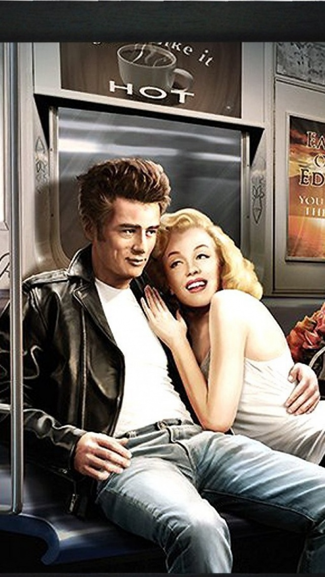 640x1136 Marilyn Monroe & James Dean Iphone 5 wallpaper