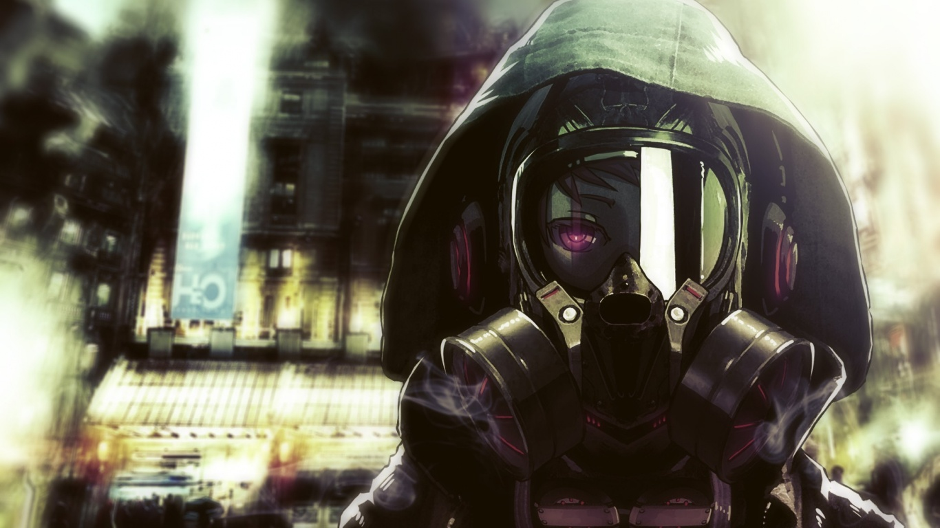 1366x768 masked anime character desktop pc and mac wallpaper