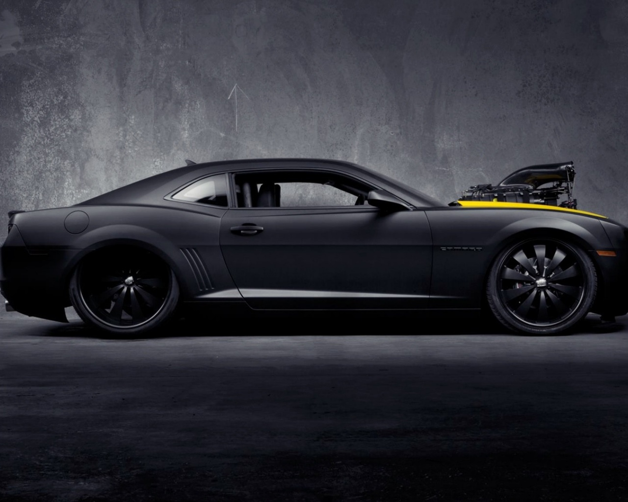 1280x1024 Matte Black Chevrolet Camaro Ss Desktop Pc And