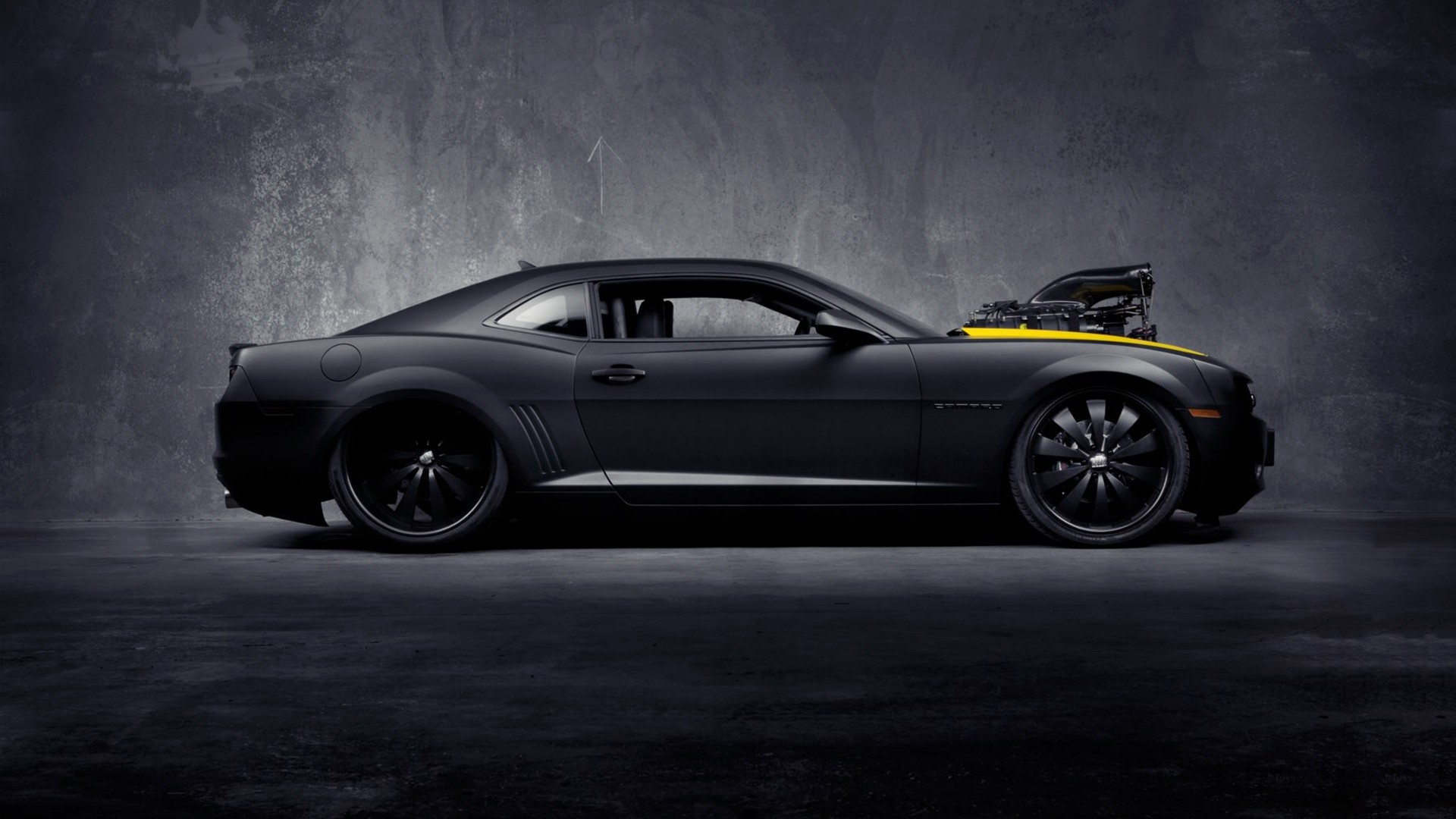 1920x1080 Matte Black Chevrolet Camaro Ss Desktop Pc And Mac