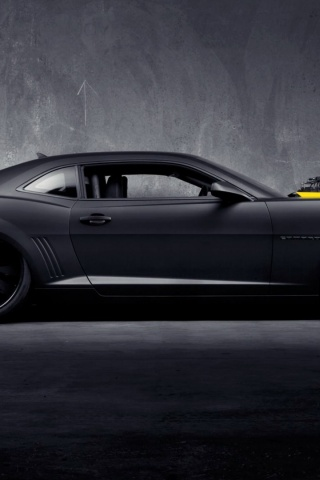 320x480 Matte Black Chevrolet Camaro Ss Iphone 3g Wallpaper
