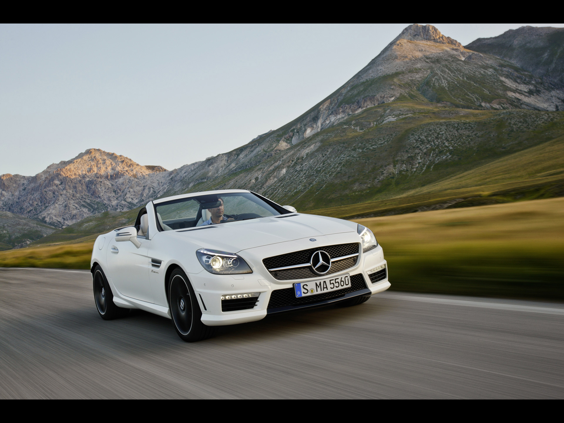 Mercedes Benz SLK 55 AMG Top Down Speed Wallpapers