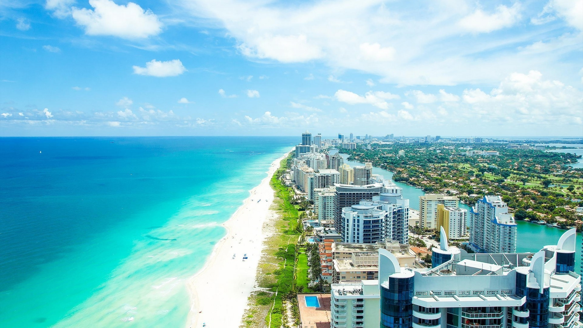 1920x1080 Miami Beach Aerial View Desktop PC And Mac Wallpaper