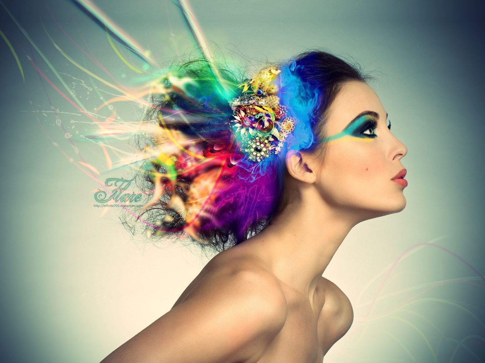 1600x1200 Model with colorful hair desktop PC and Mac wallpaper