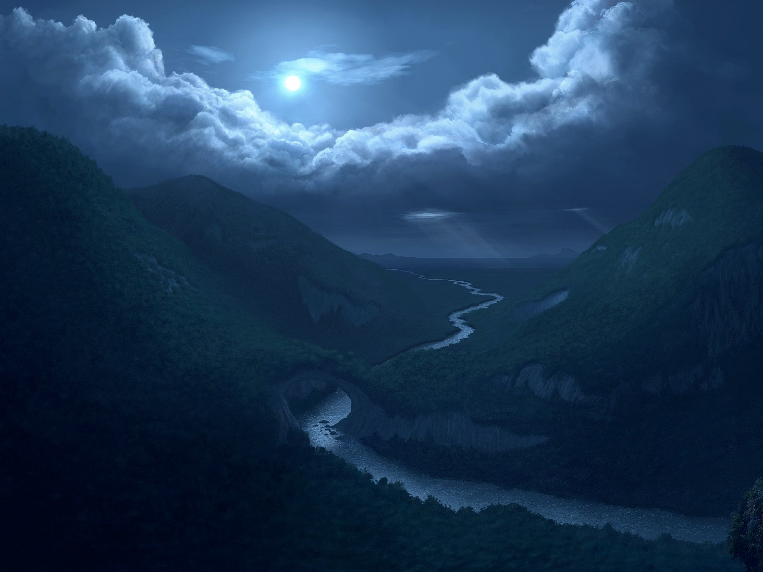 <b>Moon above</b> the blue mountains <b>wallpaper</b> - Nature <b>wallpapers</b> - #54609
