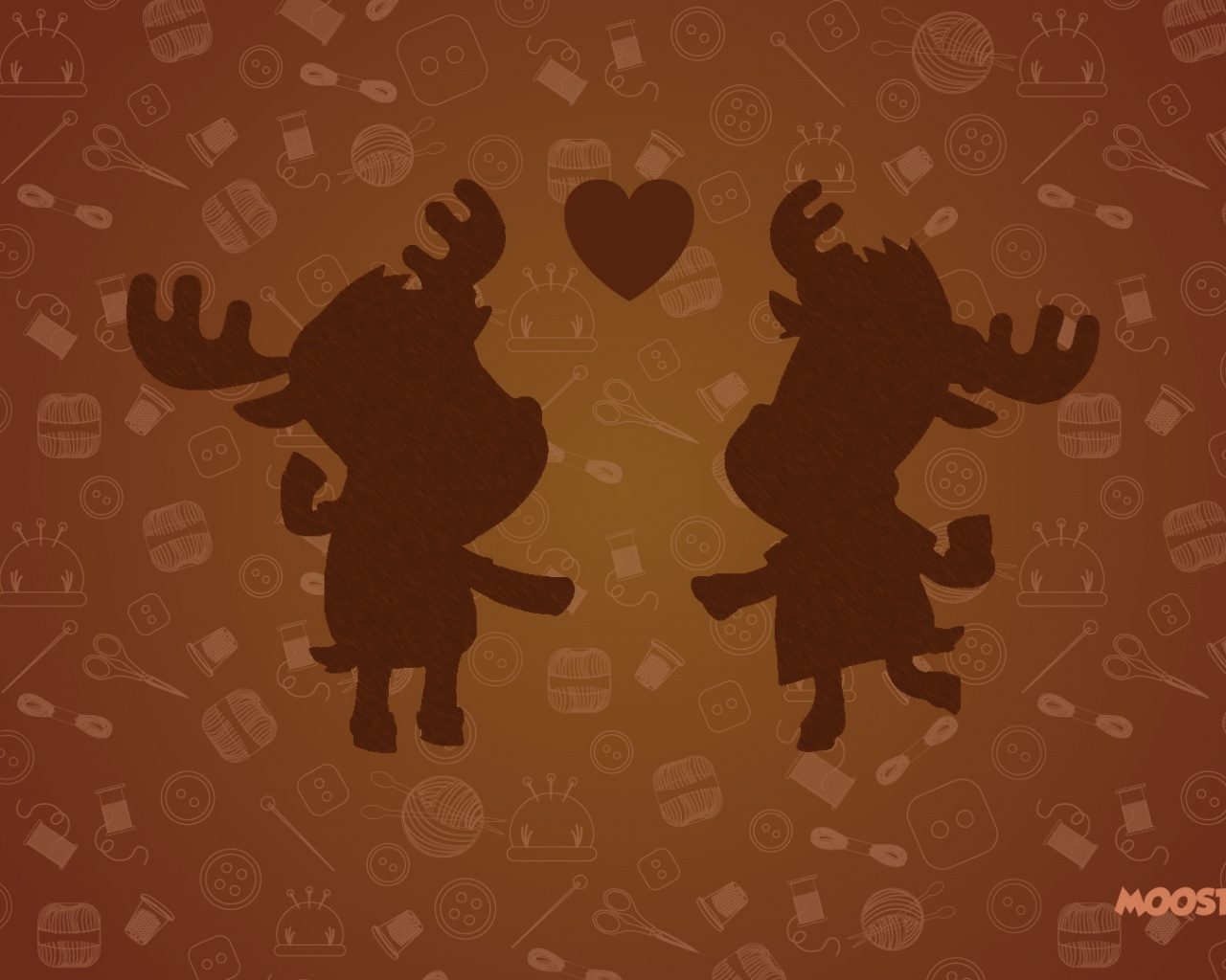 1280x1024 Moose Loving Couple