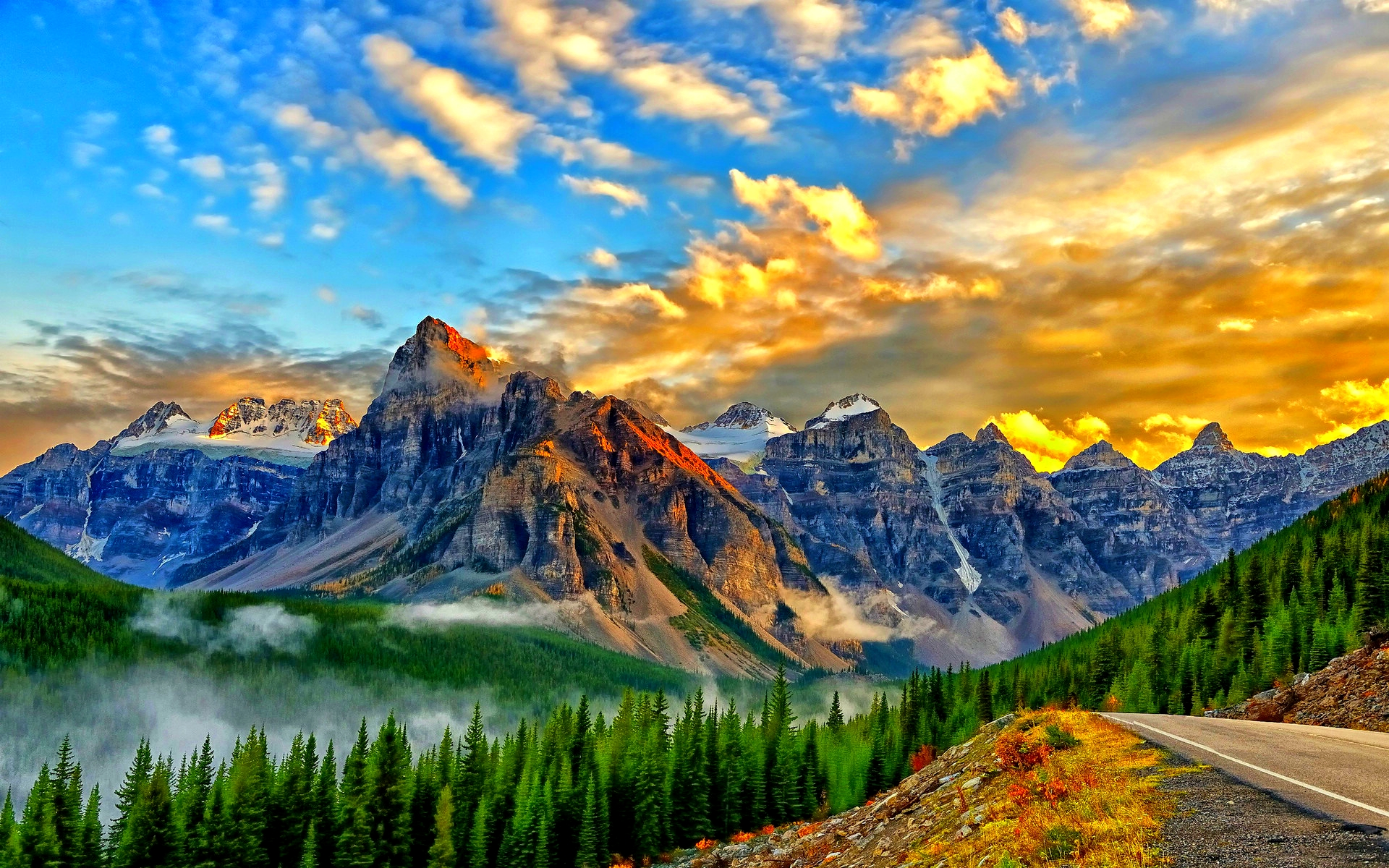 1920x1200 Mountain Forest Way Golden Sky Desktop Pc And