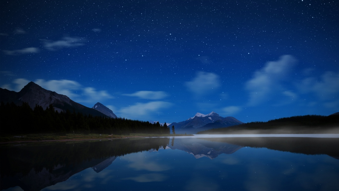 1366x768 mountain night stars - photo #2