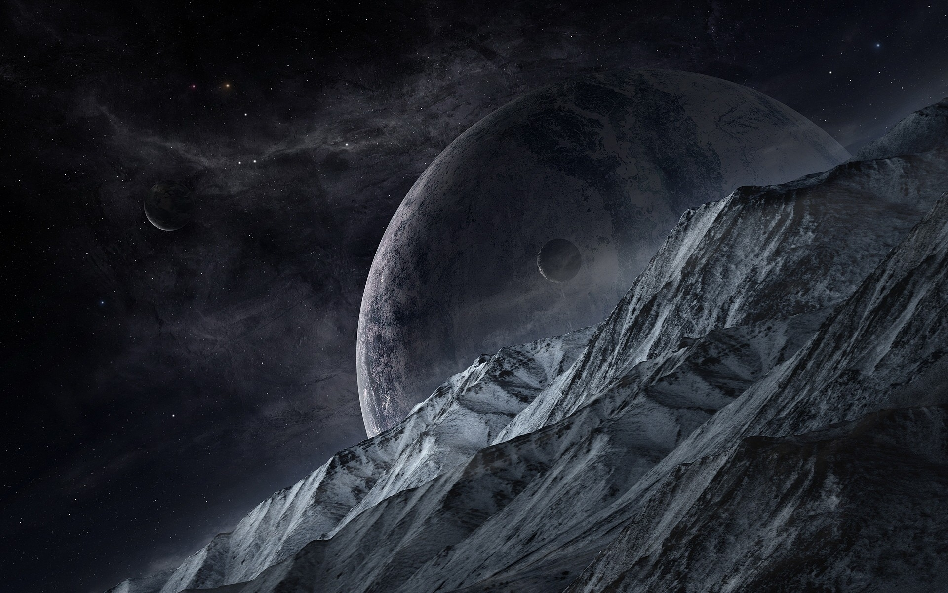 Mountain planets outer space wallpapers mountain planets - Dark space hd ...