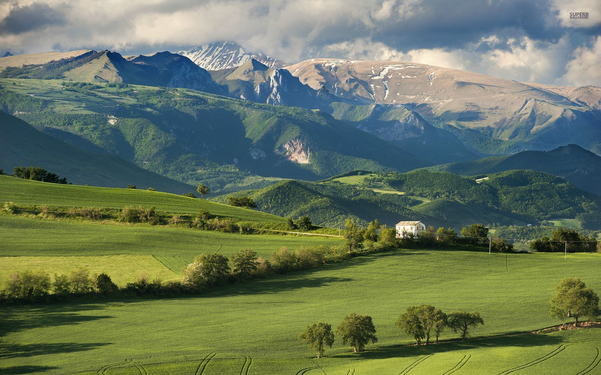 Mountains fields trees house wallpapers mountains - House in the mountains ...