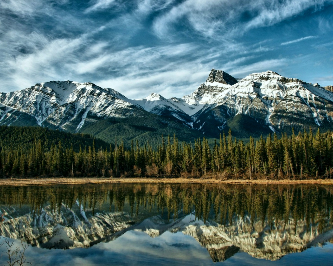 1280x1024 mountains forest lake canada desktop pc and mac for Home wallpaper canada