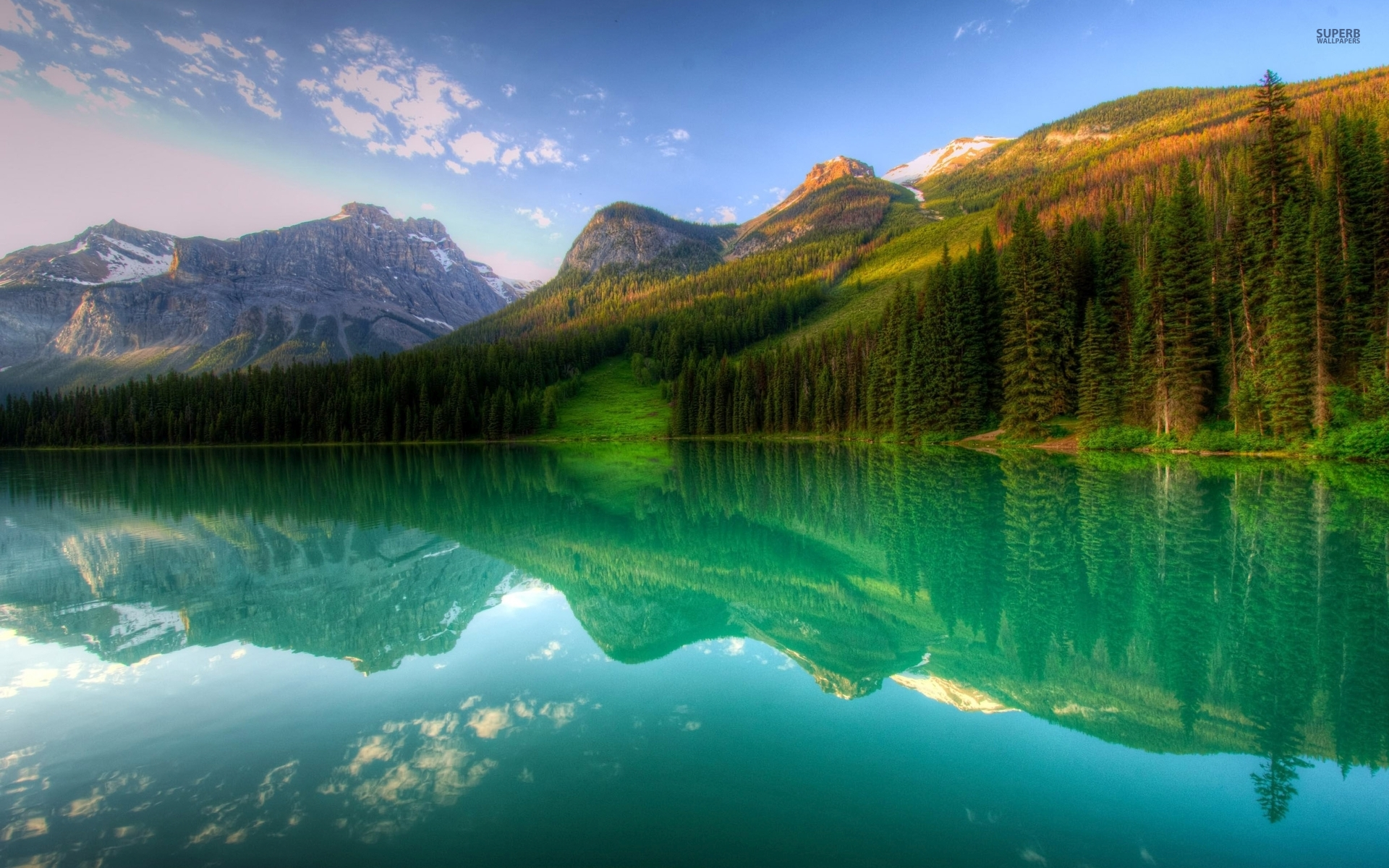 Mountains Forest Lake Reflect Wallpapers Mountains