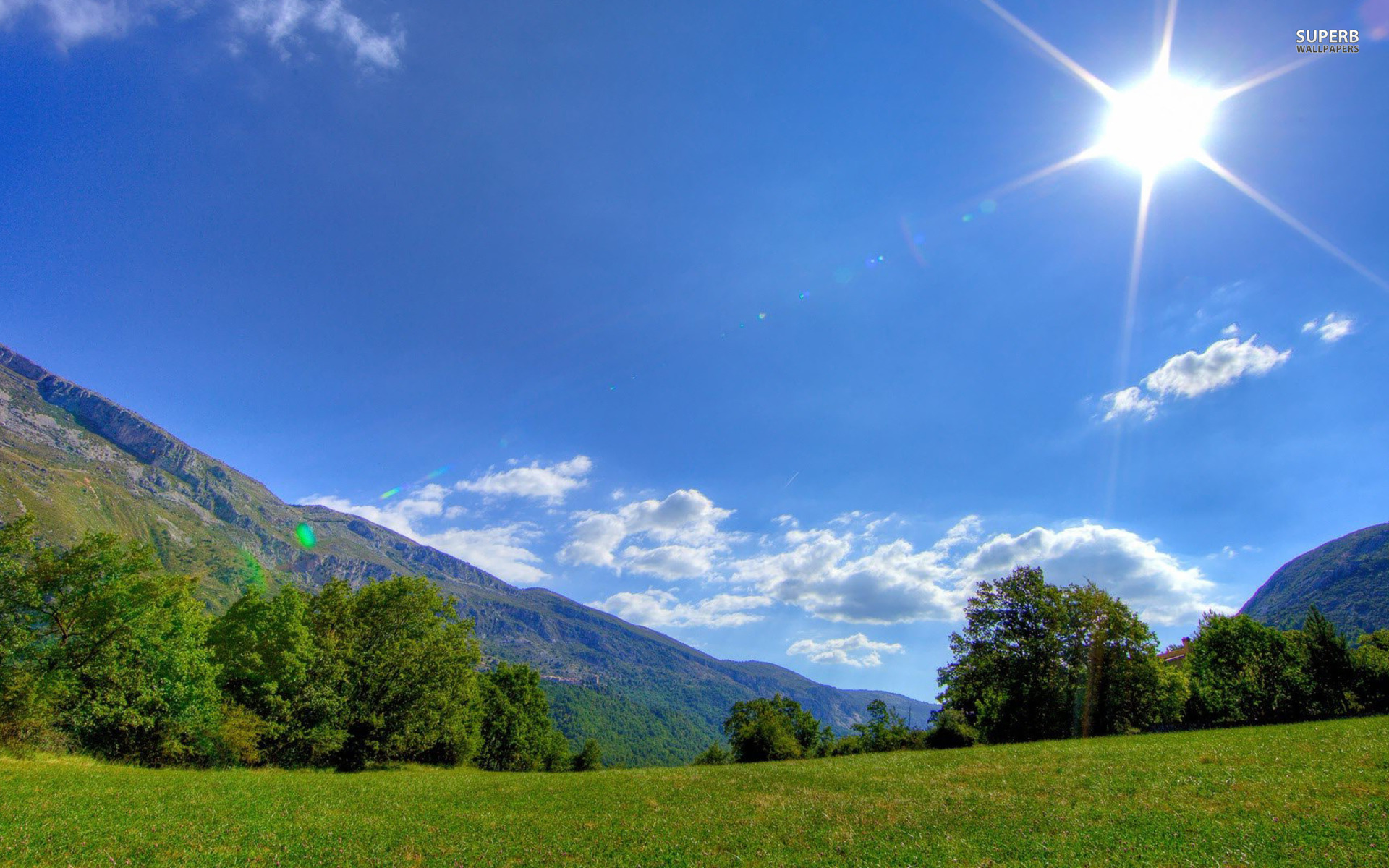 Mountains Trees Field Sunlight Wallpapers  Mountains -6052