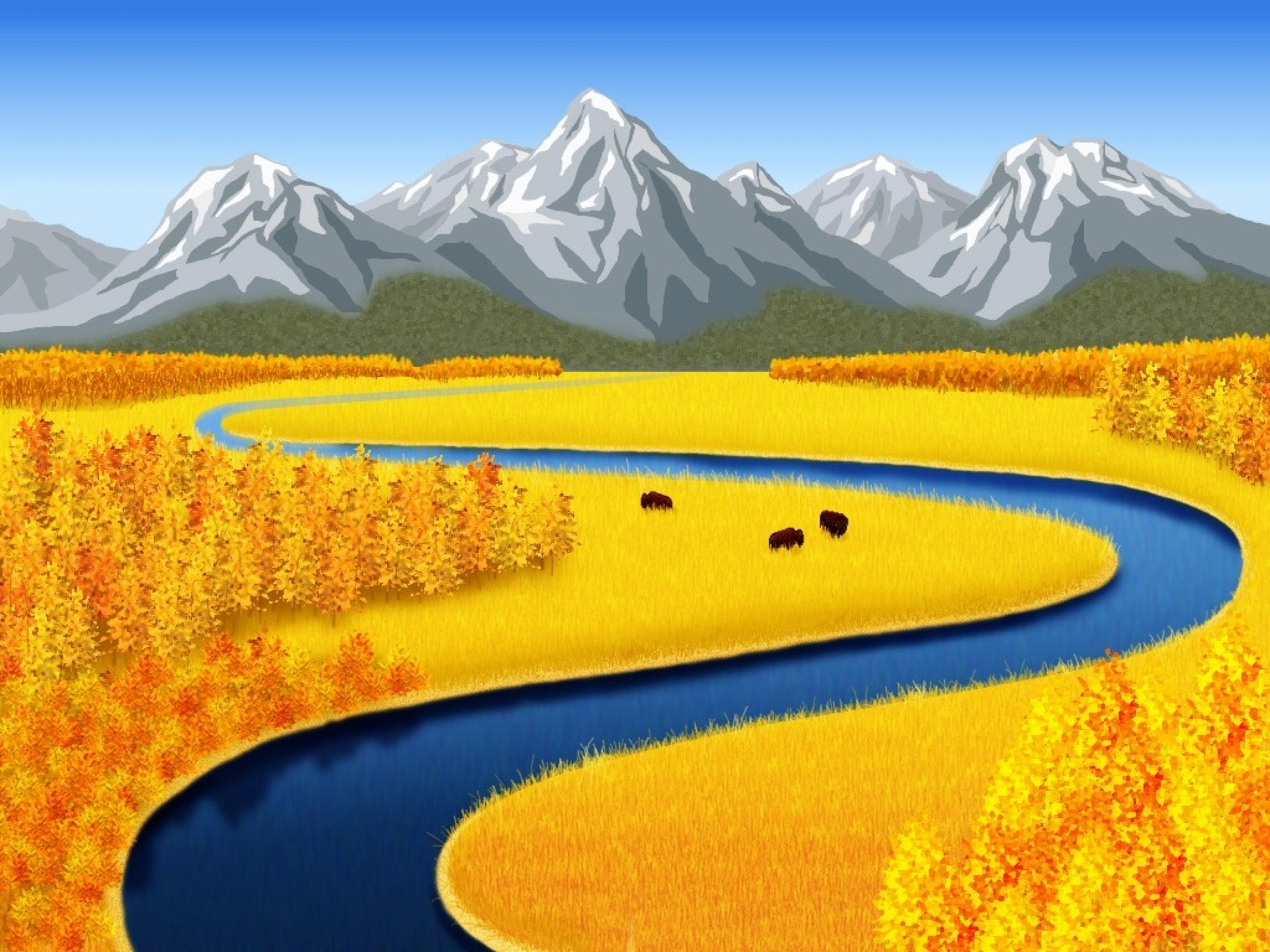 Mountains Yellow Fields Creek Wallpapers  Mountains Yellow Fields Creek Stock Photos-2530