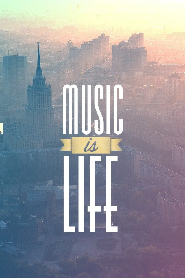 640x960 music is life typography poster iphone 4 wallpaper - Music is life hd ...