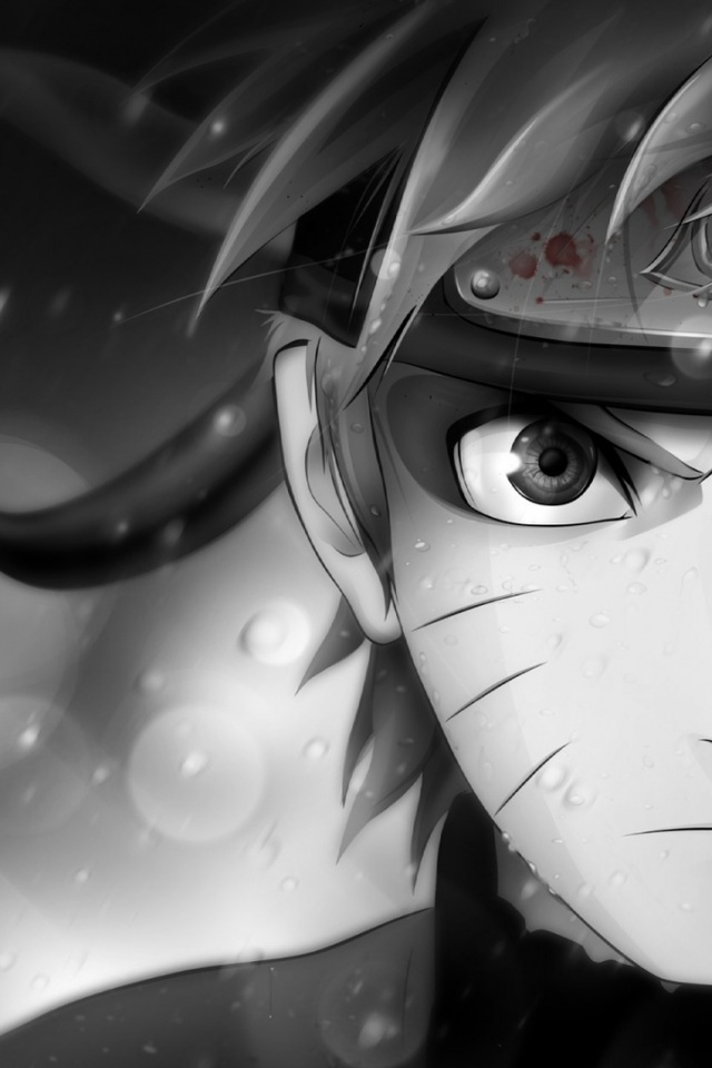 640x960 Naruto Black And White Iphone 4 Wallpaper