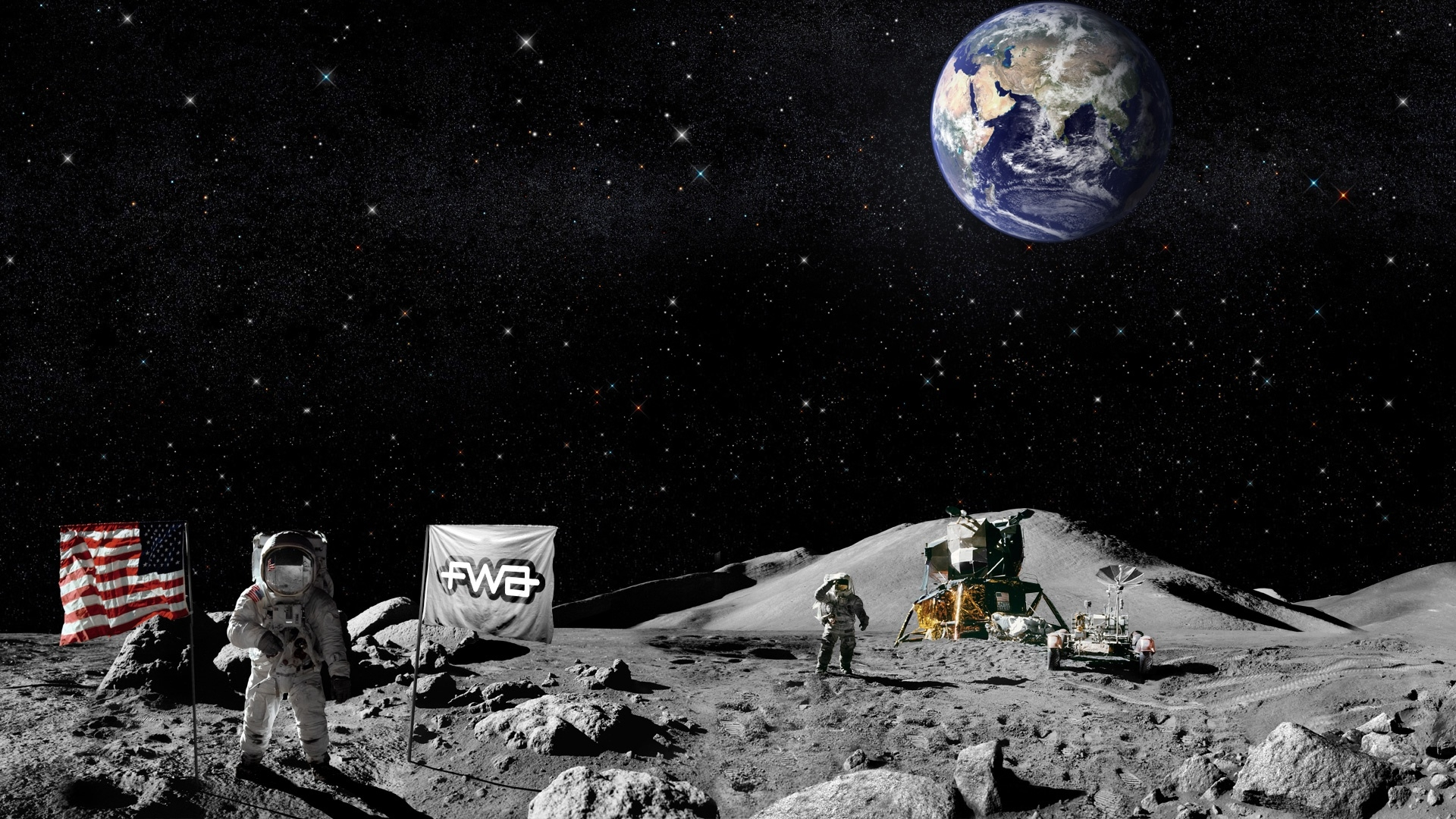 astronaut on moon earth background-#26