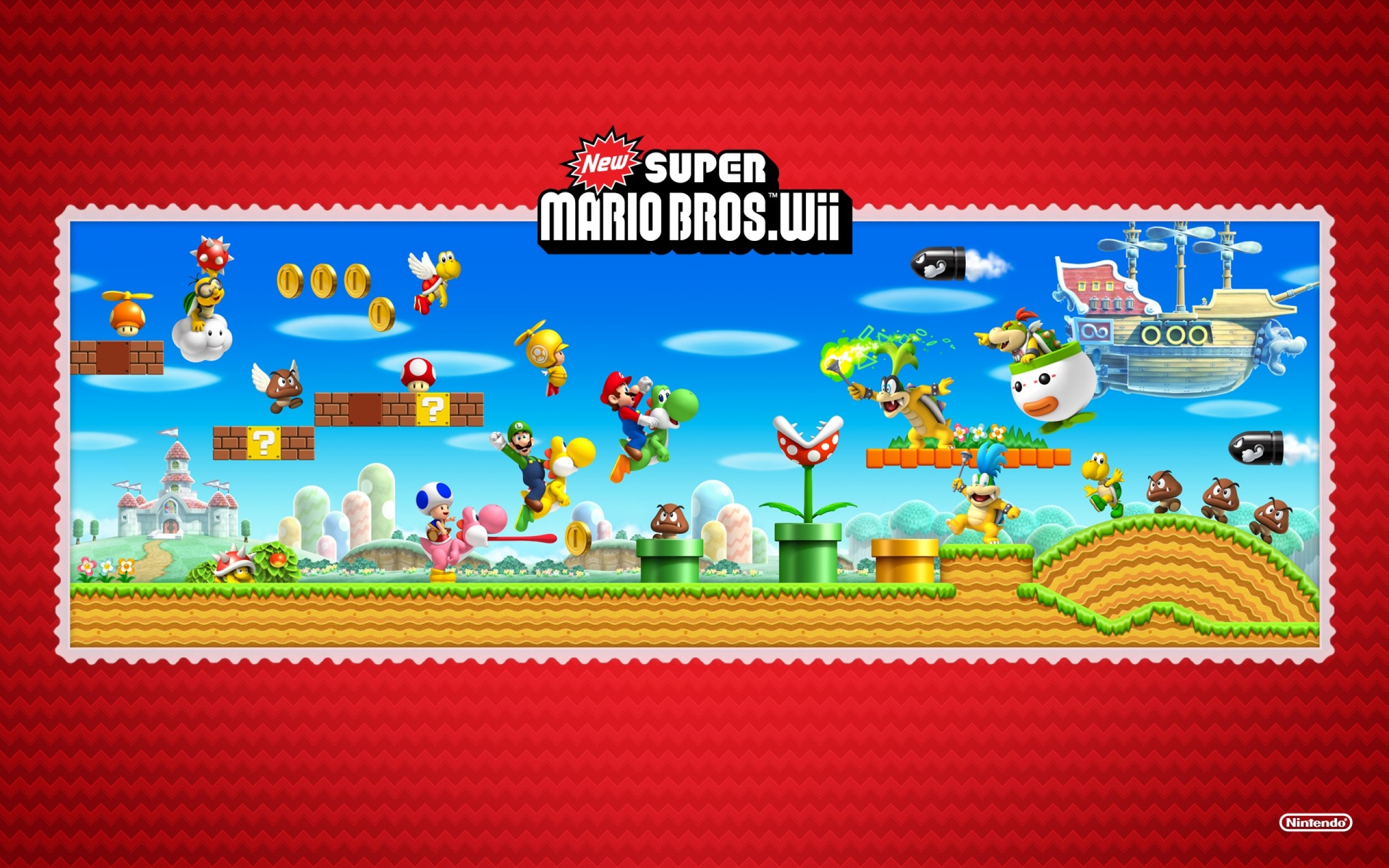 Home supermario games supermario wallpapers - 2560x1600 New Super Mario Bros Wii