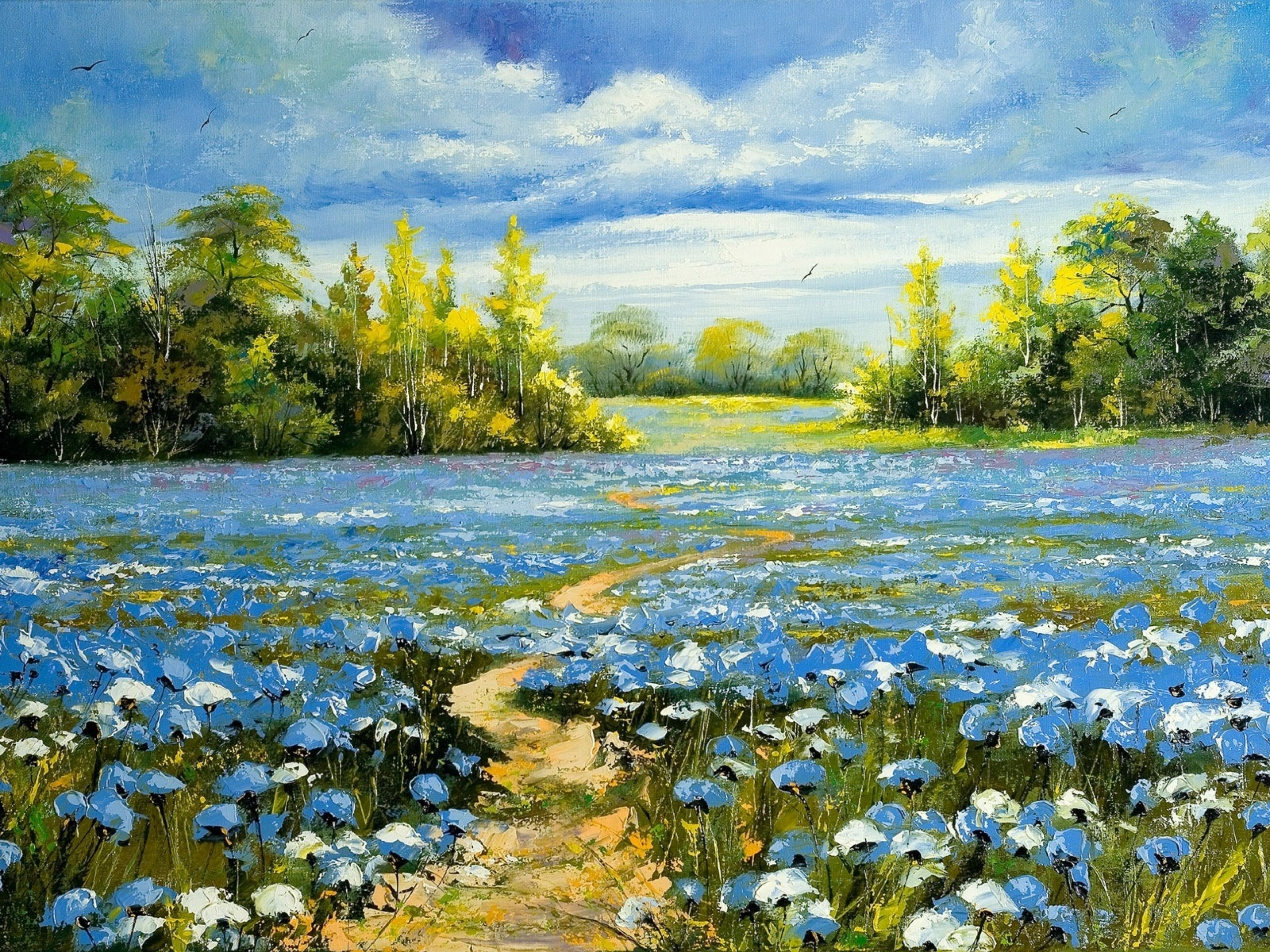 Image Nice Blue Flower Field Paint Wallpapers And Stock Photos