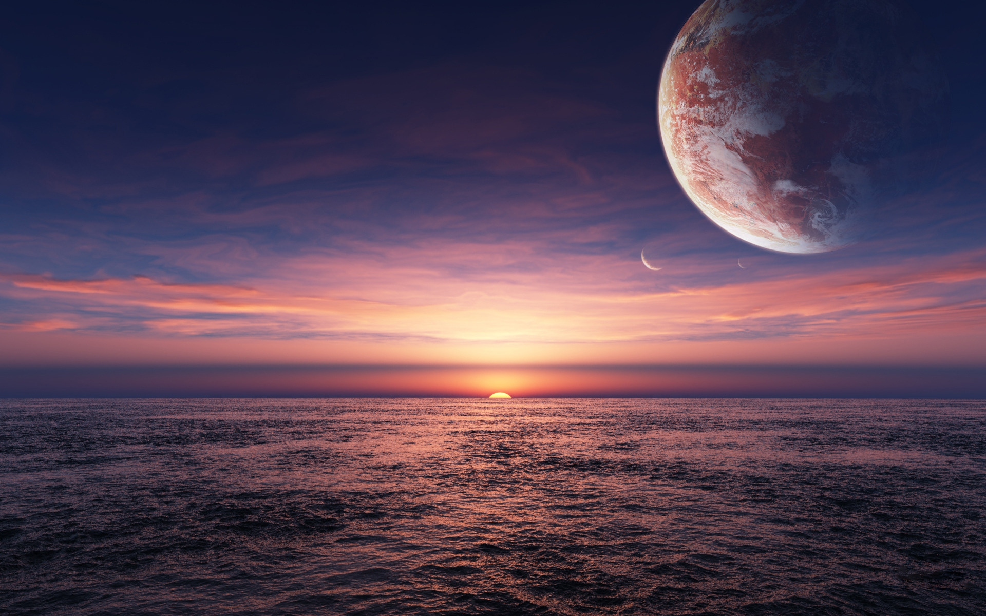 Nice Ocean Pink Sunset Planet Wallpapers Nice Ocean Pink