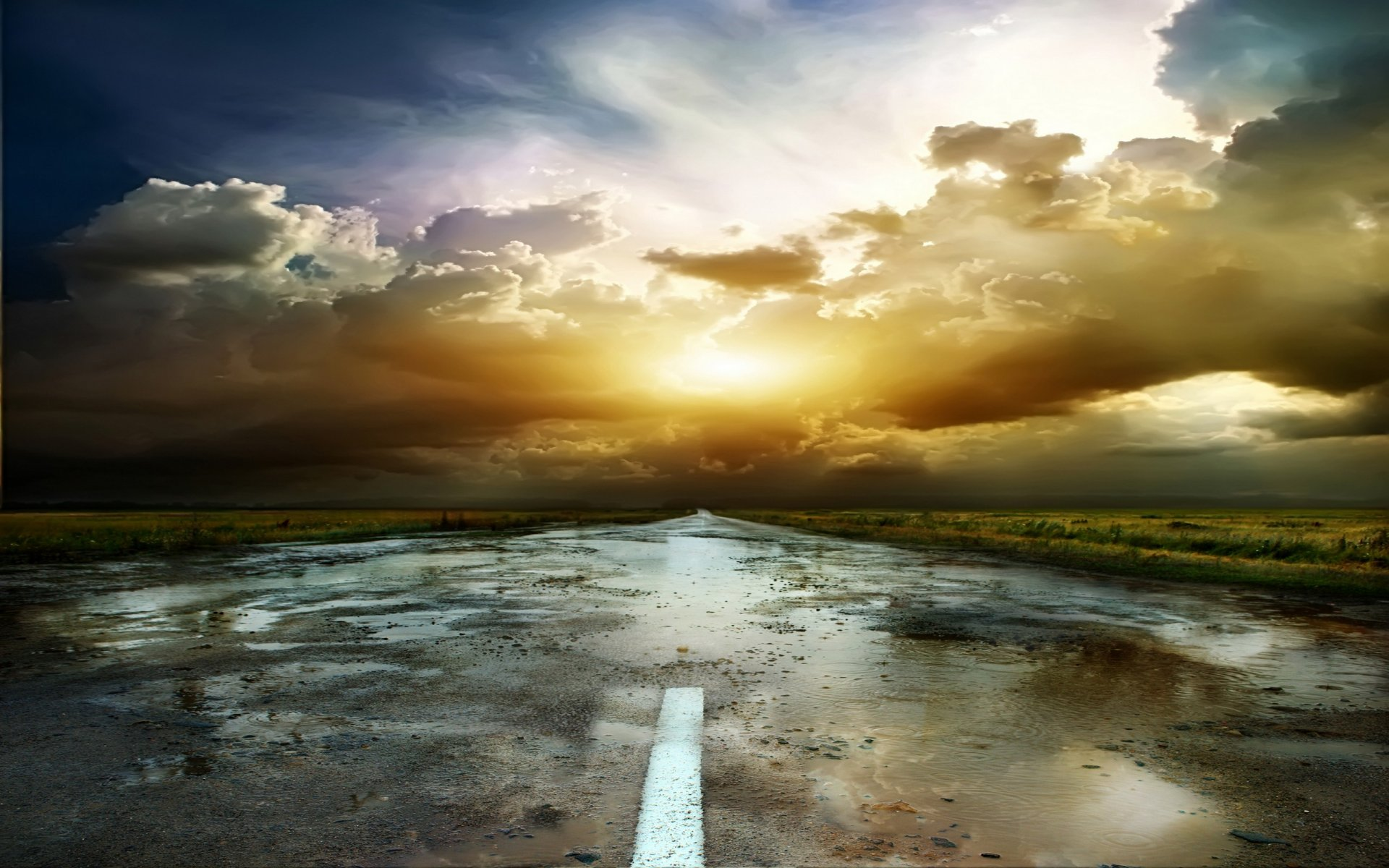 nice stormy clouds puddle road wallpapers nice stormy